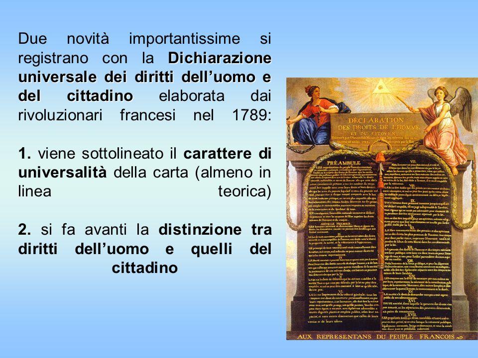 Dichiarazione universale dei diritti delluomo e del cittadino Due novità importantissime si registrano con la Dichiarazione universale dei diritti del