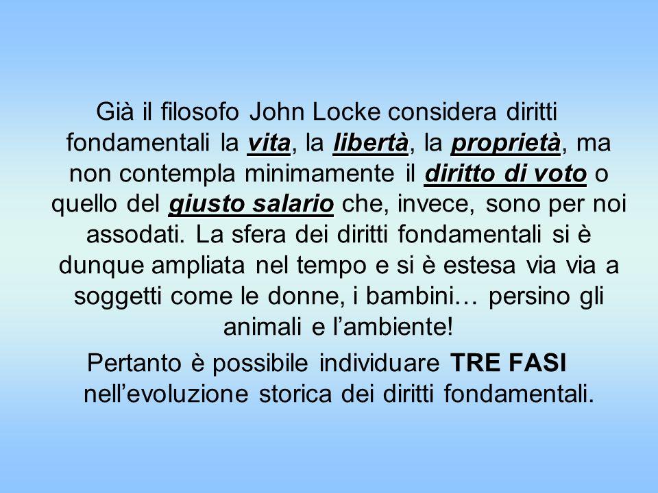 vitalibertàproprietà diritto di voto giusto salario Già il filosofo John Locke considera diritti fondamentali la vita, la libertà, la proprietà, ma no