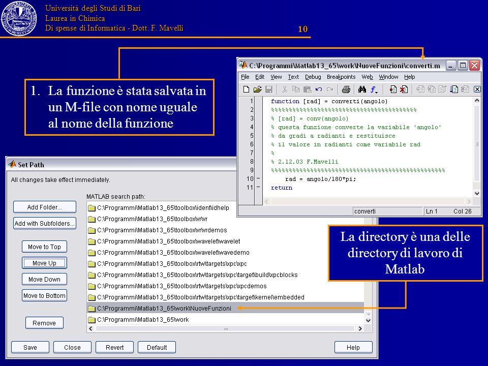 Università degli Studi di Bari Laurea in Chimica Di spense di Informatica - Dott. F. Mavelli 10 1.La funzione è stata salvata in un M-file con nome ug