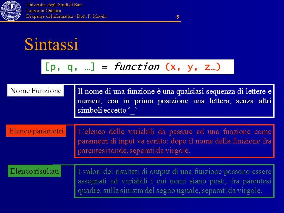 Università degli Studi di Bari Laurea in Chimica Di spense di Informatica - Dott. F. Mavelli 5 Sintassi [p, q, …] = function (x, y, z…) Elenco risulta