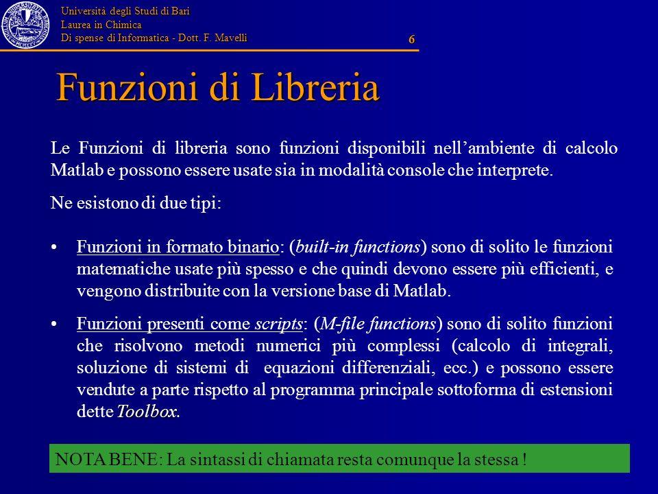 Università degli Studi di Bari Laurea in Chimica Di spense di Informatica - Dott. F. Mavelli 6 Funzioni di Libreria Le Funzioni di libreria sono funzi
