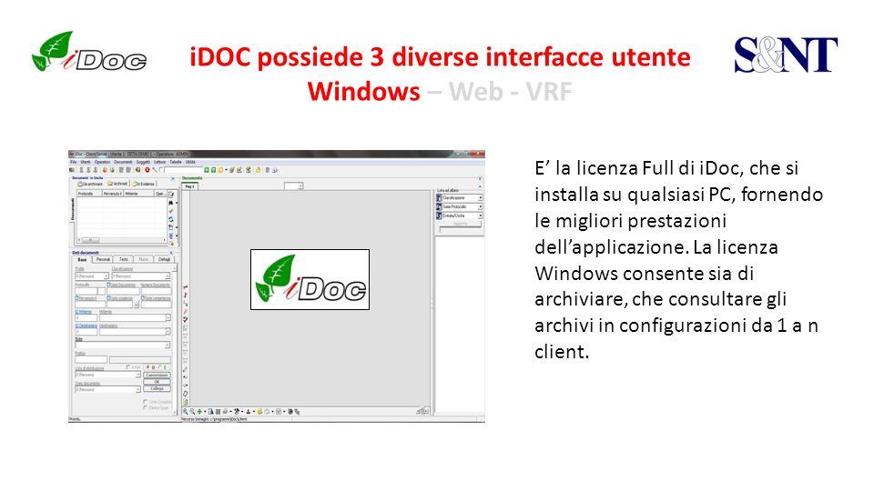 iDOC possiede 3 diverse interfacce utente Windows – Web - VRF E la licenza Full di iDoc, che si installa su qualsiasi PC, fornendo le migliori prestaz