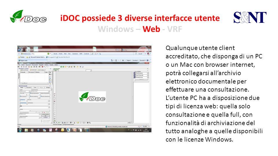 iDOC possiede 3 diverse interfacce utente Windows – Web - VRF Qualunque utente client accreditato, che disponga di un PC o un Mac con browser internet