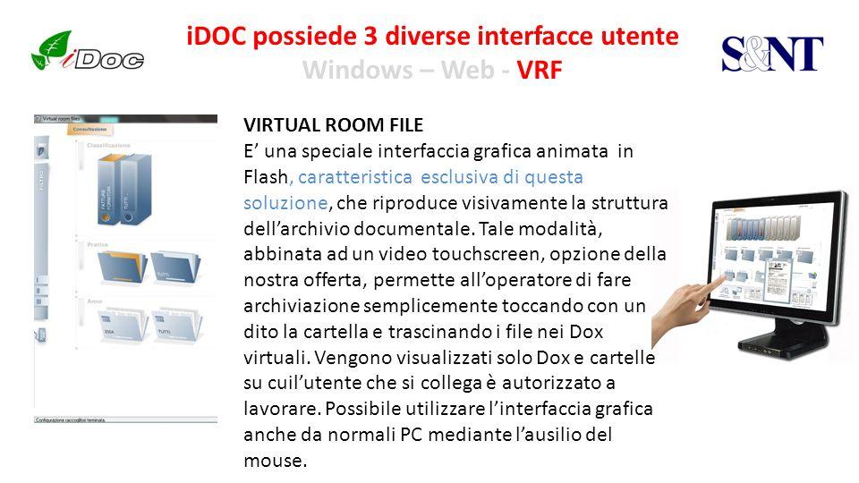 iDOC possiede 3 diverse interfacce utente Windows – Web - VRF VIRTUAL ROOM FILE E una speciale interfaccia grafica animata in Flash, caratteristica es
