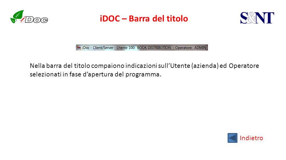 iDOC – Barra del titolo Indietro Nella barra del titolo compaiono indicazioni sullUtente (azienda) ed Operatore selezionati in fase dapertura del prog