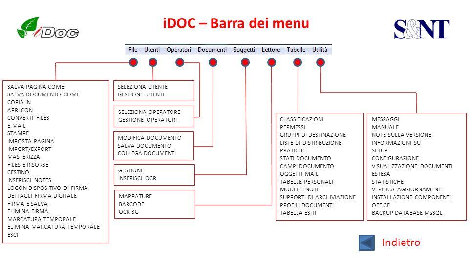 iDOC – Barra dei menu Indietro SALVA PAGINA COME SALVA DOCUMENTO COME COPIA IN APRI CON CONVERTI FILES E-MAIL STAMPE IMPOSTA PAGINA IMPORT/EXPORT MAST