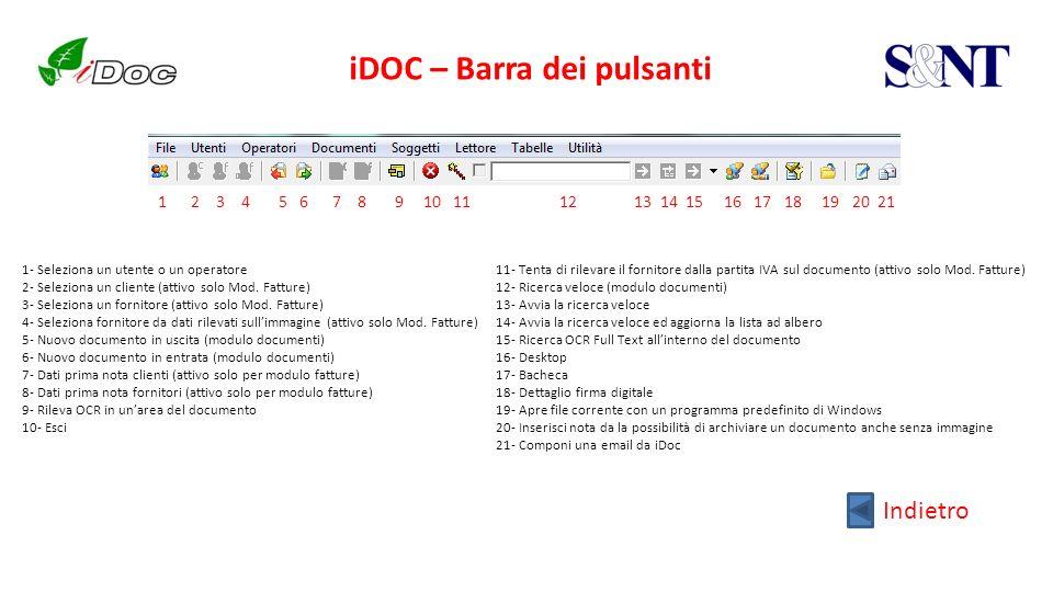 iDOC – Barra dei pulsanti 1- Seleziona un utente o un operatore 2- Seleziona un cliente (attivo solo Mod. Fatture) 3- Seleziona un fornitore (attivo s