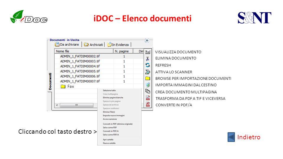 iDOC – Elenco documenti BROWSE PER IMPORTAZIONE DOCUMENTI ATTIVA LO SCANNER IMPORTA IMMAGINI DAL CESTINO CREA DOCUMENTO MULTIPAGINA TRASFORMA DA PDF A