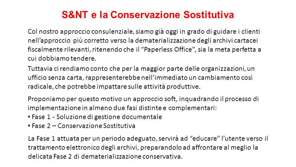 S&NT e la Conservazione Sostitutiva Col nostro approccio consulenziale, siamo già oggi in grado di guidare i clienti nellapproccio più corretto verso