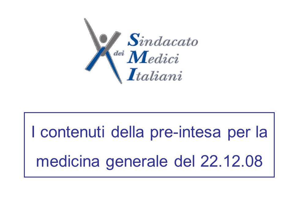I contenuti della pre-intesa per la medicina generale del 22.12.08