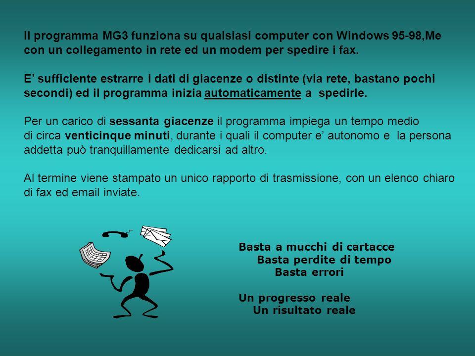 Il programma MG3 funziona su qualsiasi computer con Windows 95-98,Me con un collegamento in rete ed un modem per spedire i fax. E sufficiente estrarre