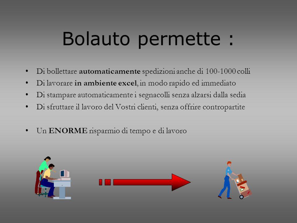 Bolauto permette : Di bollettare automaticamente spedizioni anche di 100-1000 colli Di lavorare in ambiente excel, in modo rapido ed immediato Di stam