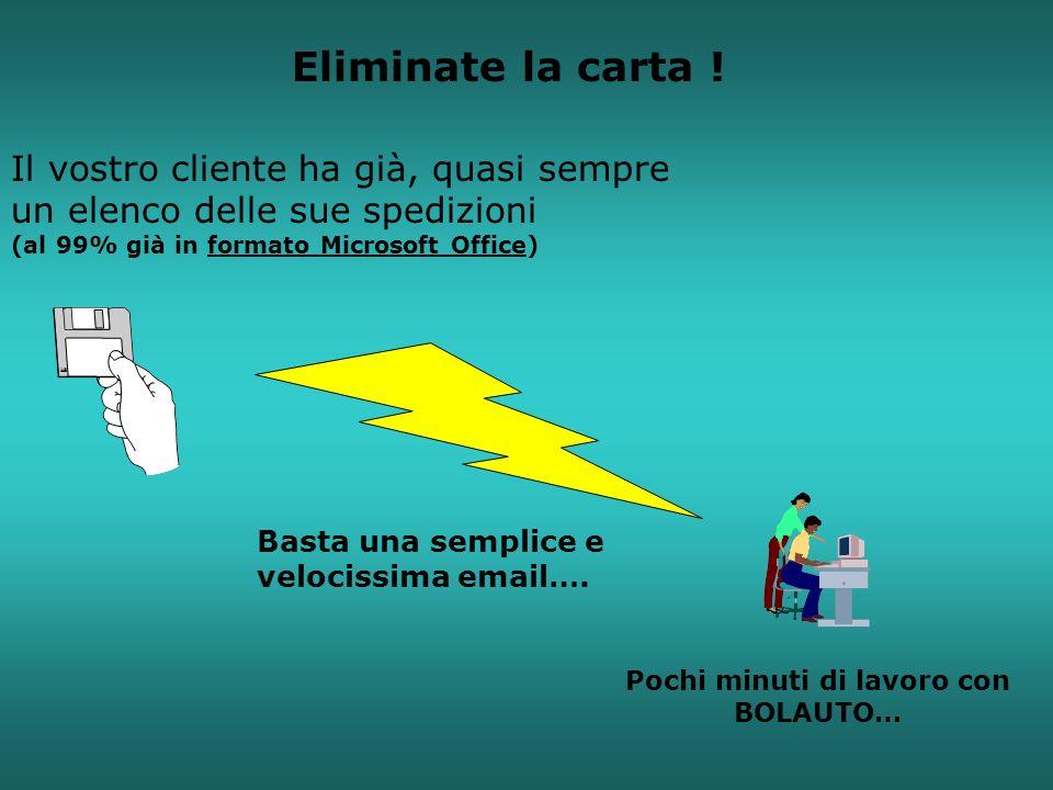 Il vostro cliente ha già, quasi sempre un elenco delle sue spedizioni (al 99% già in formato Microsoft Office) Pochi minuti di lavoro con BOLAUTO… Bas