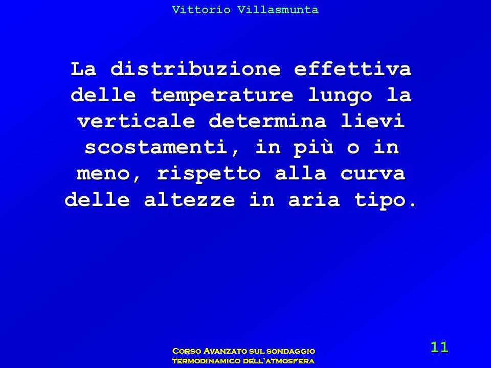 Vittorio Villasmunta Corso Avanzato sul sondaggio termodinamico dellatmosfera 11 La distribuzione effettiva delle temperature lungo la verticale deter