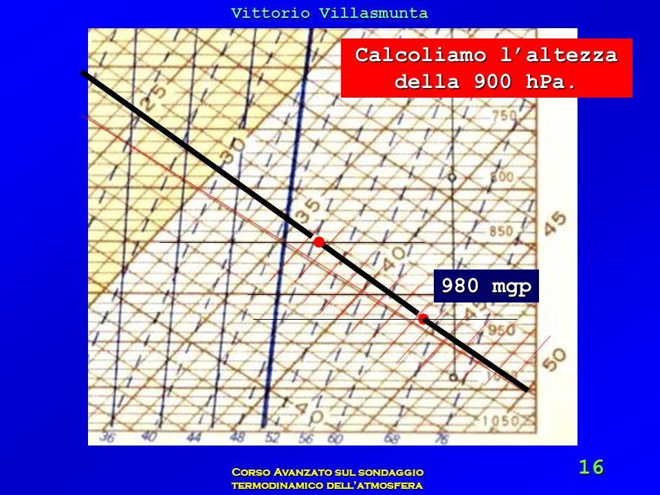 Vittorio Villasmunta Corso Avanzato sul sondaggio termodinamico dellatmosfera 16 Calcoliamo laltezza della 900 hPa. 980 mgp