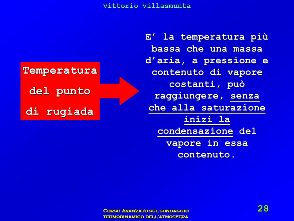 Vittorio Villasmunta Corso Avanzato sul sondaggio termodinamico dellatmosfera 28 Temperatura del punto di rugiada E la temperatura più bassa che una m