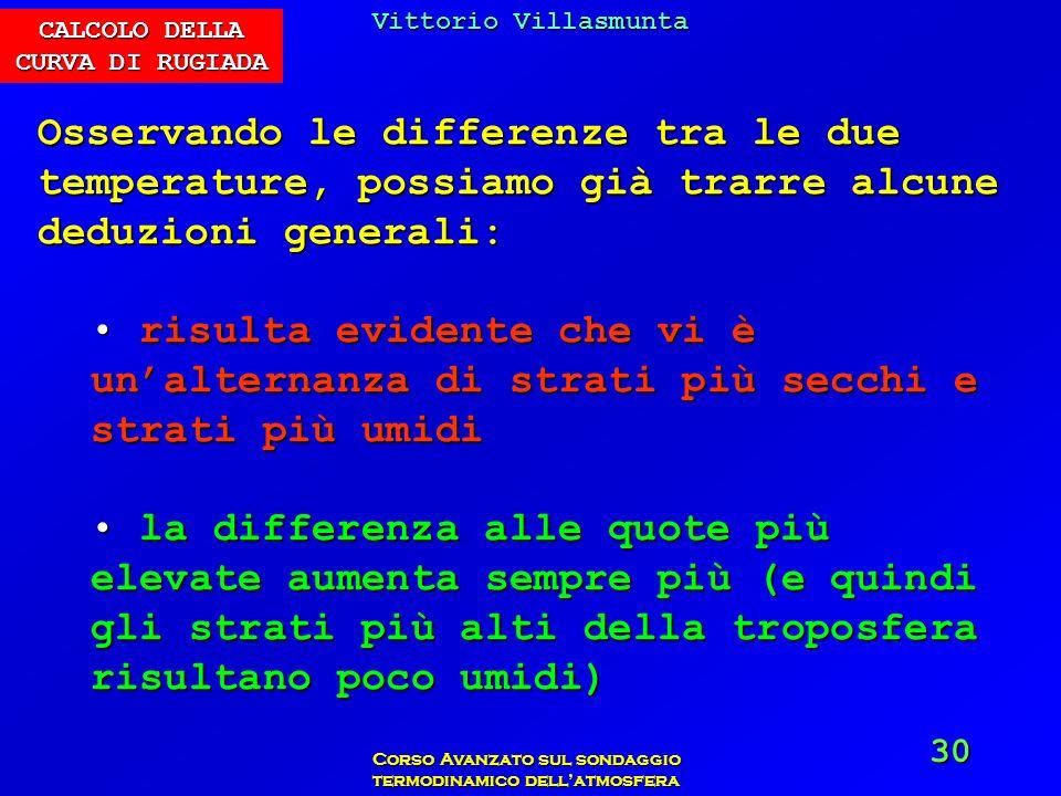 Vittorio Villasmunta Corso Avanzato sul sondaggio termodinamico dellatmosfera 30 Osservando le differenze tra le due temperature, possiamo già trarre