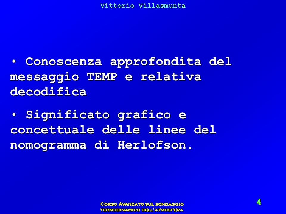 Vittorio Villasmunta Corso Avanzato sul sondaggio termodinamico dellatmosfera 4 Conoscenza approfondita del messaggio TEMP e relativa decodifica Conos