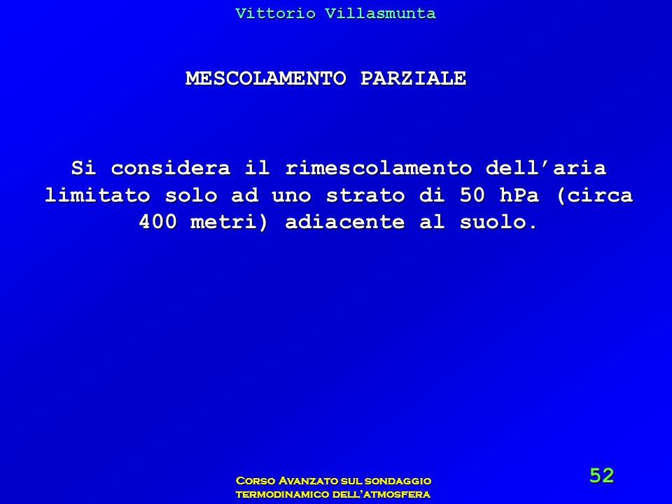 Vittorio Villasmunta Corso Avanzato sul sondaggio termodinamico dellatmosfera 52 MESCOLAMENTO PARZIALE Si considera il rimescolamento dellaria limitat
