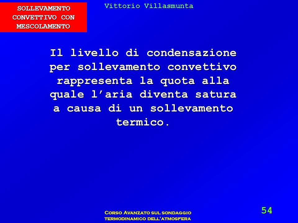 Vittorio Villasmunta Corso Avanzato sul sondaggio termodinamico dellatmosfera 54 Il livello di condensazione per sollevamento convettivo rappresenta l