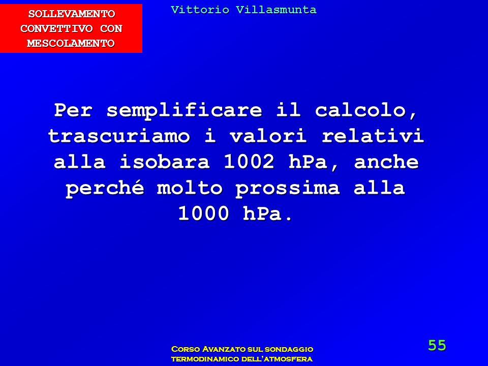 Vittorio Villasmunta Corso Avanzato sul sondaggio termodinamico dellatmosfera 55 Per semplificare il calcolo, trascuriamo i valori relativi alla isoba
