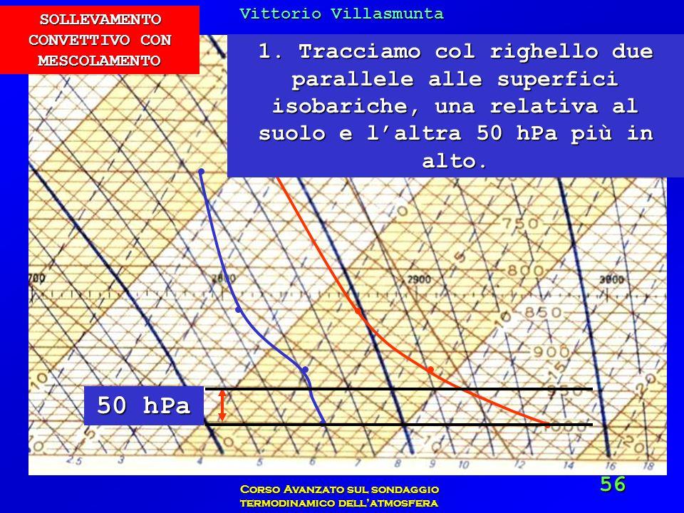 Vittorio Villasmunta Corso Avanzato sul sondaggio termodinamico dellatmosfera 56 1. Tracciamo col righello due parallele alle superfici isobariche, un
