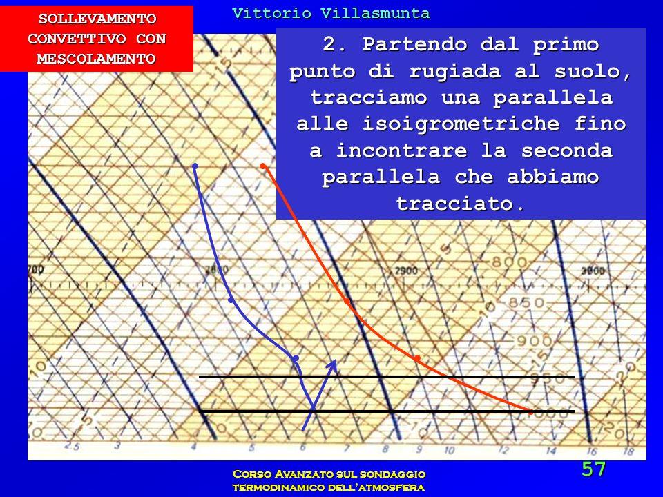 Vittorio Villasmunta Corso Avanzato sul sondaggio termodinamico dellatmosfera 57 2. Partendo dal primo punto di rugiada al suolo, tracciamo una parall