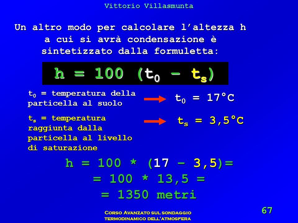 Vittorio Villasmunta Corso Avanzato sul sondaggio termodinamico dellatmosfera 67 Un altro modo per calcolare laltezza h a cui si avrà condensazione è