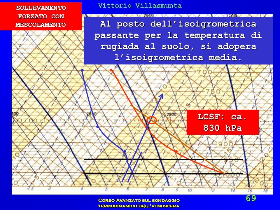 Vittorio Villasmunta Corso Avanzato sul sondaggio termodinamico dellatmosfera 69 Al posto dellisoigrometrica passante per la temperatura di rugiada al