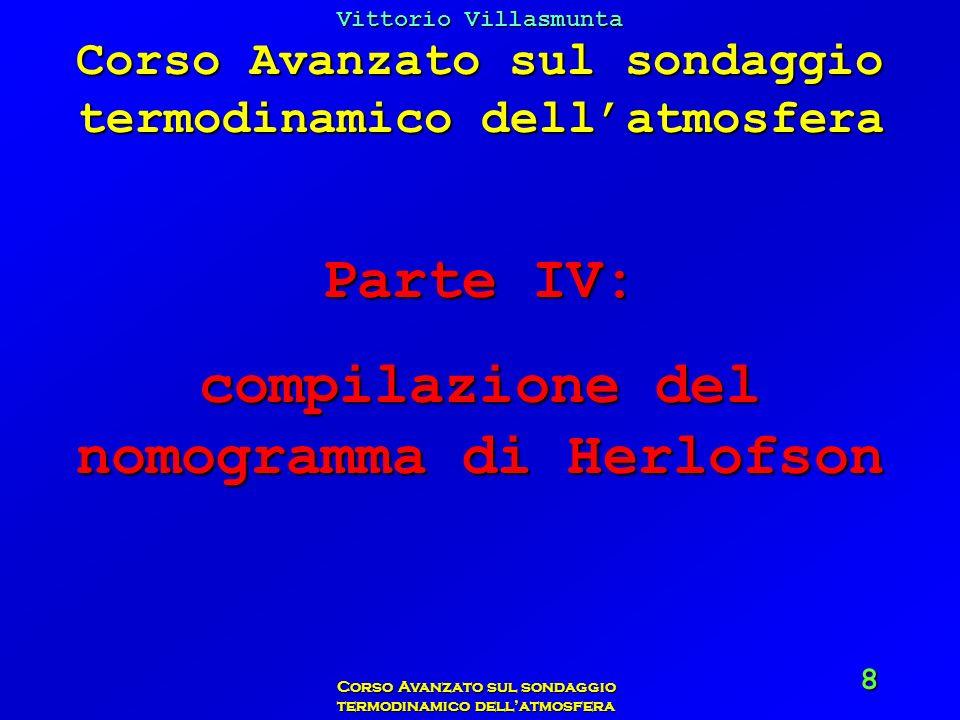 Vittorio Villasmunta Corso Avanzato sul sondaggio termodinamico dellatmosfera 19 Le temperature così ricavate devono essere riportate sul diagramma, mettendo un punto allincrocio tra lisoterma letta e la superficie isobarica alla quale è riferita.