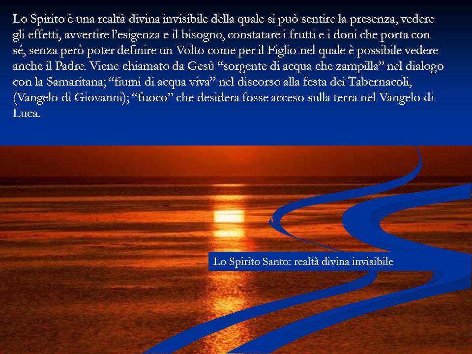 Lo Spirito è una realtà divina invisibile della quale si può sentire la presenza, vedere gli effetti, avvertire lesigenza e il bisogno, constatare i f