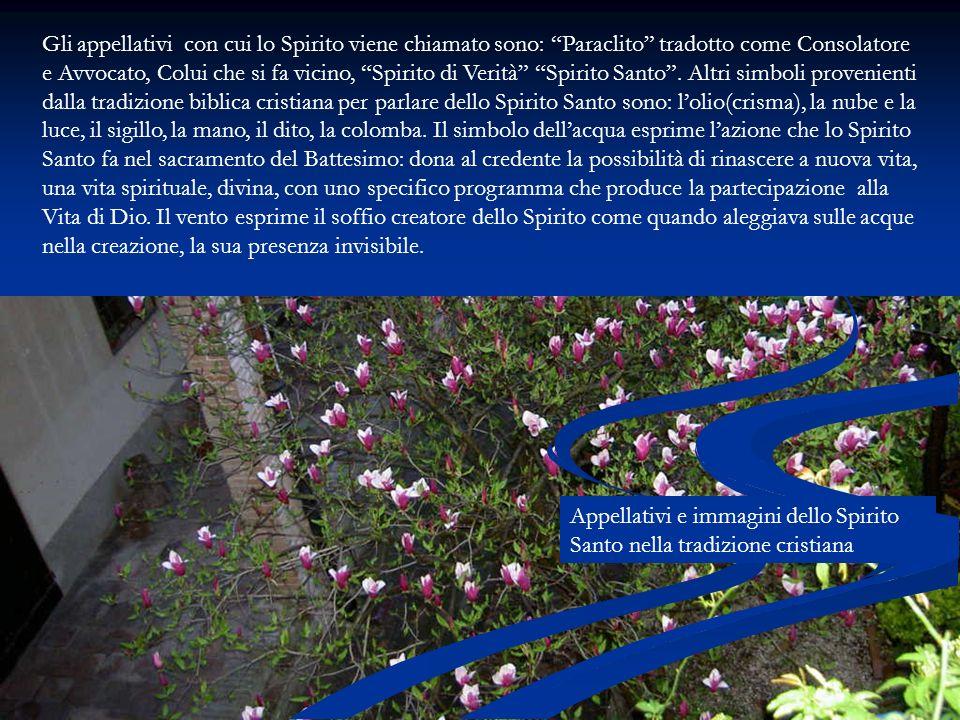 Gli appellativi con cui lo Spirito viene chiamato sono: Paraclito tradotto come Consolatore e Avvocato, Colui che si fa vicino, Spirito di Verità Spir