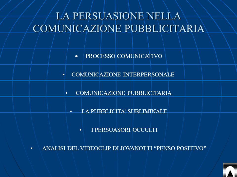 LA PERSUASIONE NELLA COMUNICAZIONE PUBBLICITARIA PROCESSO COMUNICATIVO COMUNICAZIONE INTERPERSONALE COMUNICAZIONE PUBBLICITARIA LA PUBBLICITA SUBLIMIN