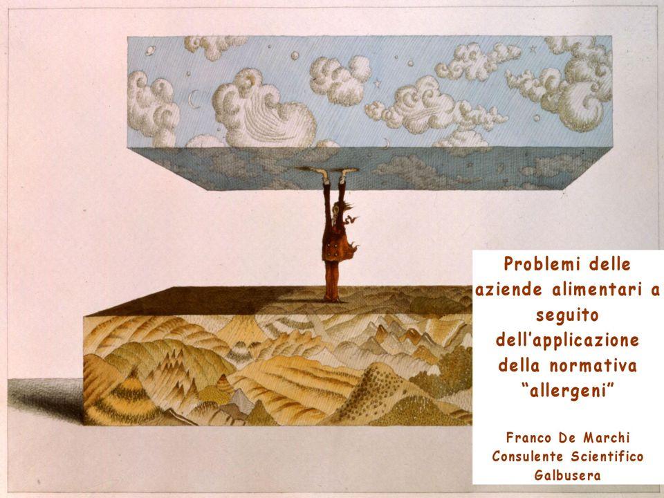 QUADRO NORMATIVO Atti normativi che regolamentano le indicazioni delle sostanze allergiche : - Direttiva 2003/89/CE - Direttiva 2005/26/CE - Direttiva 2007/68/CE ( in attesa di completo recepimento da parte dello Stato italiano) Intento migliorare informazione al consumatore su ingredienti allergeni e relativi derivati da indicare sempre (eccetto casi previsti nellultimo aggiornamento direttiva, in cui sia stato dimostrato, attraverso apposita procedura autorizzatoria da parte EFSA, che il prodotto derivato non provochi più reazioni indesiderate).