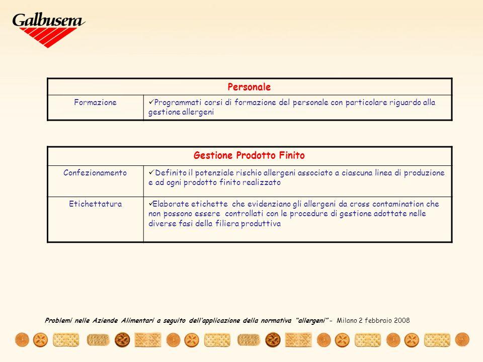 Personale Formazione Programmati corsi di formazione del personale con particolare riguardo alla gestione allergeni Gestione Prodotto Finito Confezionamento Definito il potenziale rischio allergeni associato a ciascuna linea di produzione e ad ogni prodotto finito realizzato Etichettatura Elaborate etichette che evidenziano gli allergeni da cross contamination che non possono essere controllati con le procedure di gestione adottate nelle diverse fasi della filiera produttiva Problemi nelle Aziende Alimentari a seguito dellapplicazione della normativa allergeni – Milano 2 febbraio 2008