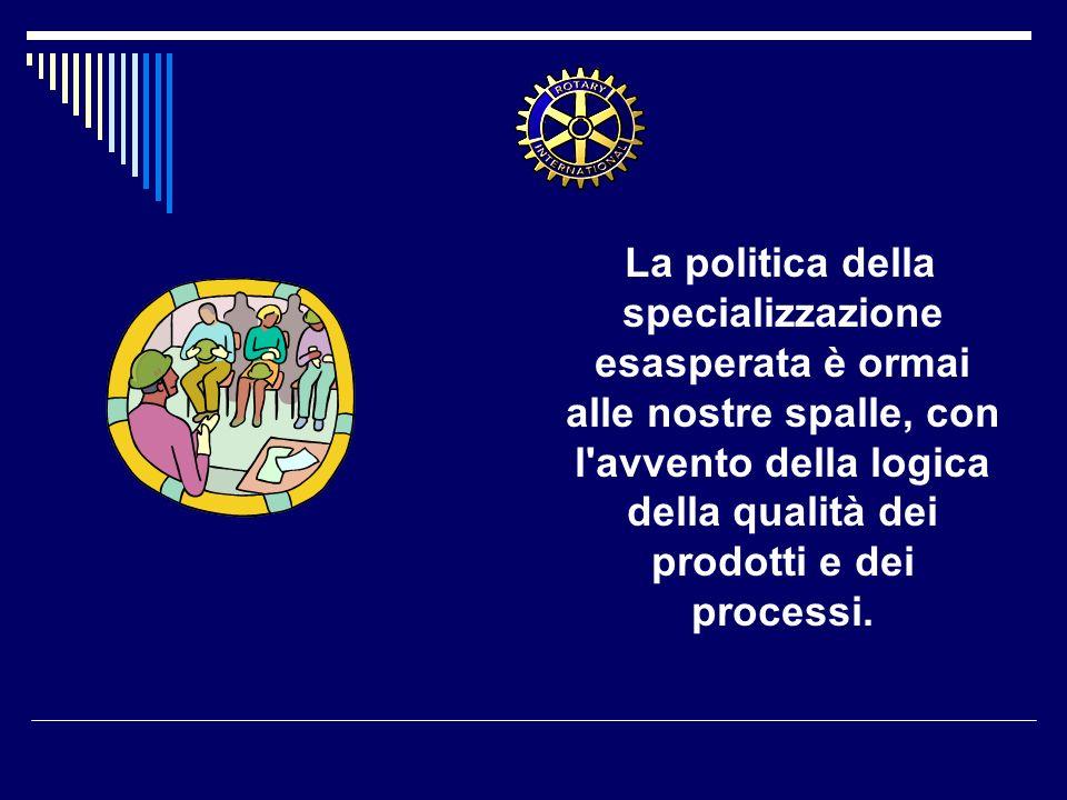 La politica della specializzazione esasperata è ormai alle nostre spalle, con l'avvento della logica della qualità dei prodotti e dei processi.