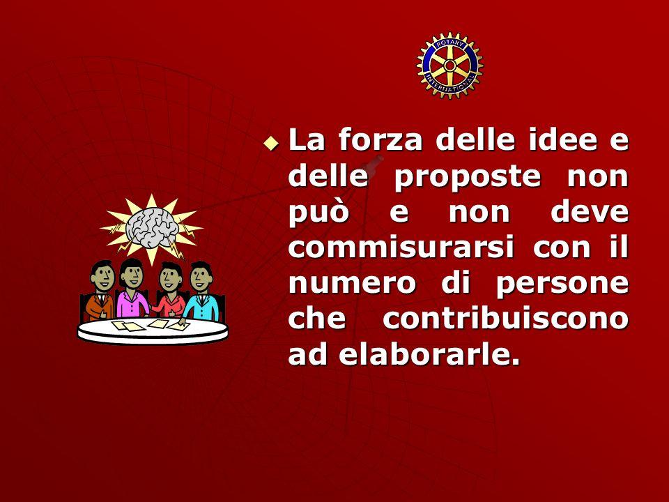 La forza delle idee e delle proposte non può e non deve commisurarsi con il numero di persone che contribuiscono ad elaborarle. La forza delle idee e