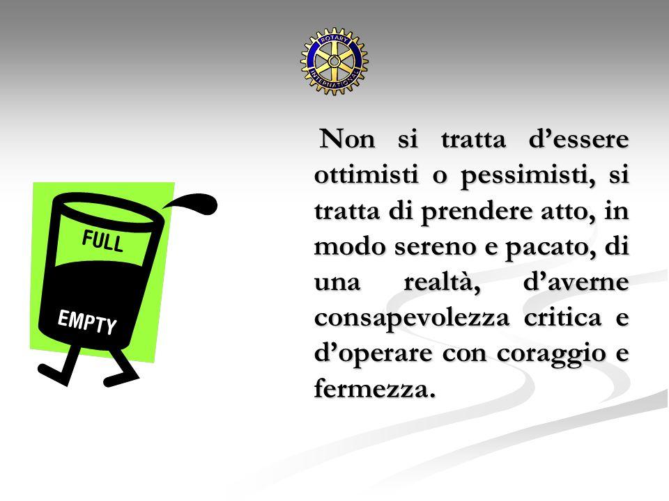 Non si tratta dessere ottimisti o pessimisti, si tratta di prendere atto, in modo sereno e pacato, di una realtà, daverne consapevolezza critica e dop