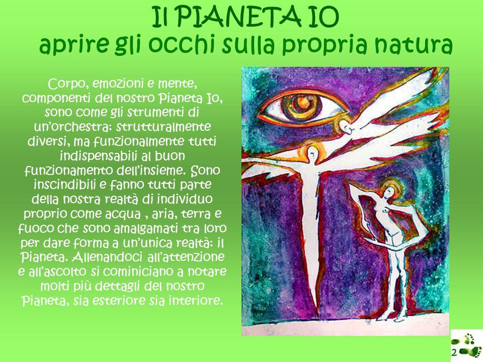 Il PIANETA IO aprire gli occhi sulla propria natura 2 Corpo, emozioni e mente, componenti del nostro Pianeta Io, sono come gli strumenti di unorchestra: strutturalmente diversi, ma funzionalmente tutti indispensabili al buon funzionamento dellinsieme.