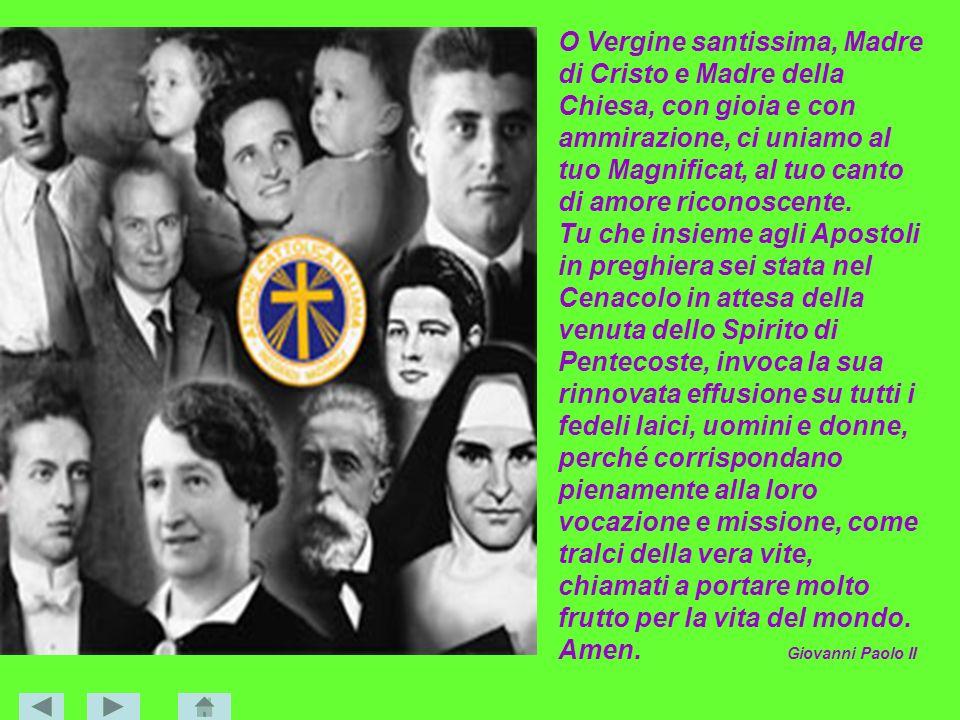 O Vergine santissima, Madre di Cristo e Madre della Chiesa, con gioia e con ammirazione, ci uniamo al tuo Magnificat, al tuo canto di amore riconoscen