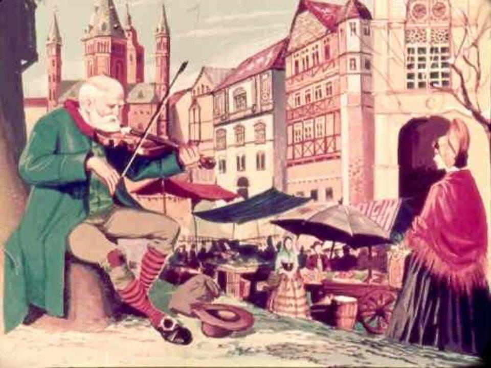 Tuttavia con tenacia disperata continuava a cavar suoni dal violino tra il confuso andirivieni della gente.