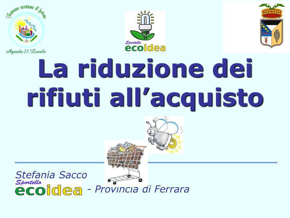 Nella provincia di Ferrara nel 2002: 234.511 t RU 670 Kg /Ab*anno RU 70.022 t RD 201 Kg /Ab*anno RD Circa 32,8% RD è costituita da imballaggi.