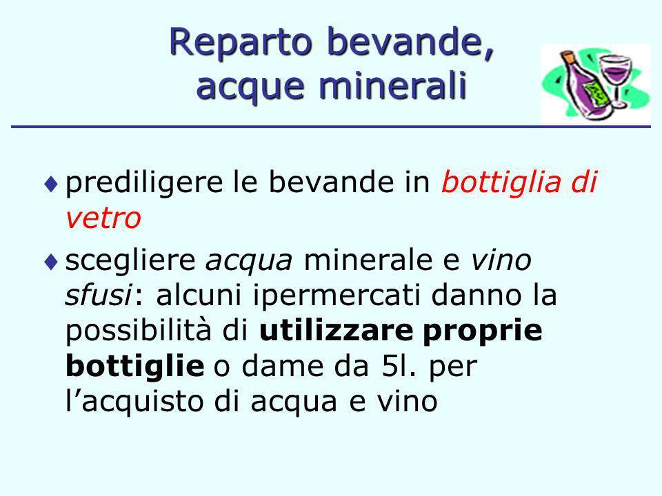 Reparto bevande, acque minerali prediligere le bevande in bottiglia di vetro scegliere acqua minerale e vino sfusi: alcuni ipermercati danno la possib
