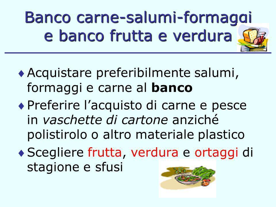 Banco carne-salumi-formaggi e banco frutta e verdura Acquistare preferibilmente salumi, formaggi e carne al banco Preferire lacquisto di carne e pesce