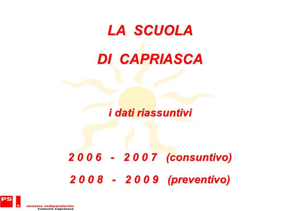 LA SCUOLA DI CAPRIASCA i dati riassuntivi 2 0 0 6 - 2 0 0 7 (consuntivo) 2 0 0 8 - 2 0 0 9 (preventivo)