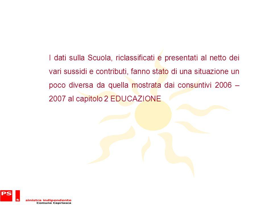 I dati sulla Scuola, riclassificati e presentati al netto dei vari sussidi e contributi, fanno stato di una situazione un poco diversa da quella mostrata dai consuntivi 2006 – 2007 al capitolo 2 EDUCAZIONE