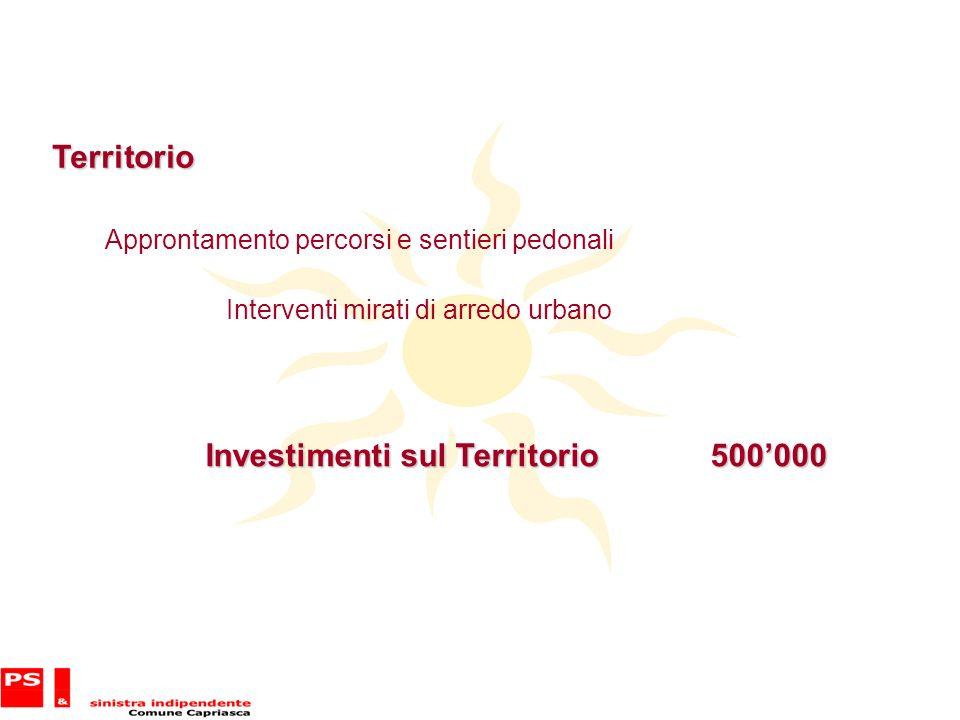 Territorio Approntamento percorsi e sentieri pedonali Interventi mirati di arredo urbano Investimenti sul Territorio 500000