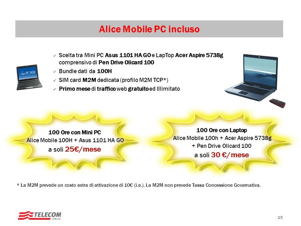 15 Scelta tra Mini PC Asus 1101 HA GO e LapTop Acer Aspire 5738g comprensivo di Pen Drive Olicard 100 Bundle dati da 100H SIM card M2M dedicata (profilo M2M TCP*) Primo mese di traffico web gratuito ed Illimitato 100 Ore con Laptop Alice Mobile 100h + Acer Aspire 5738g + Pen Drive Olicard 100 a soli 30 /mese Alice Mobile PC incluso 100 Ore con Mini PC Alice Mobile 100H + Asus 1101 HA GO a soli 25/mese * La M2M prevede un costo extra di attivazione di 10 (i.e.).