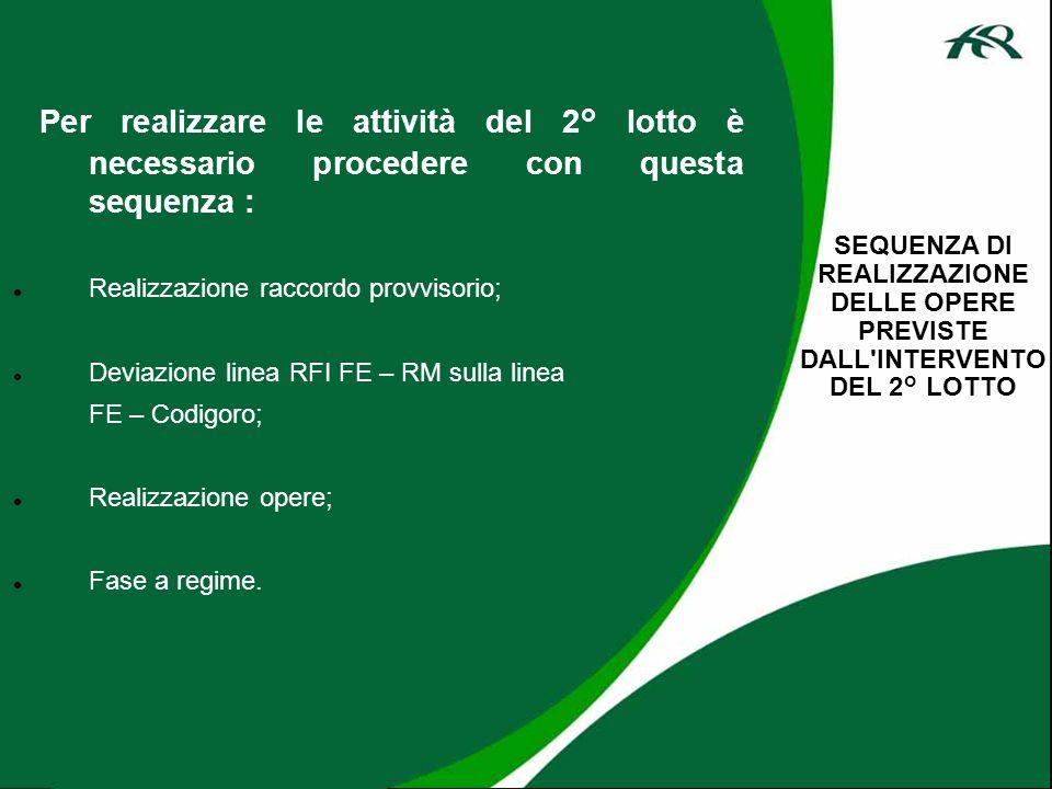 Per realizzare le attività del 2° lotto è necessario procedere con questa sequenza : Realizzazione raccordo provvisorio; Deviazione linea RFI FE – RM