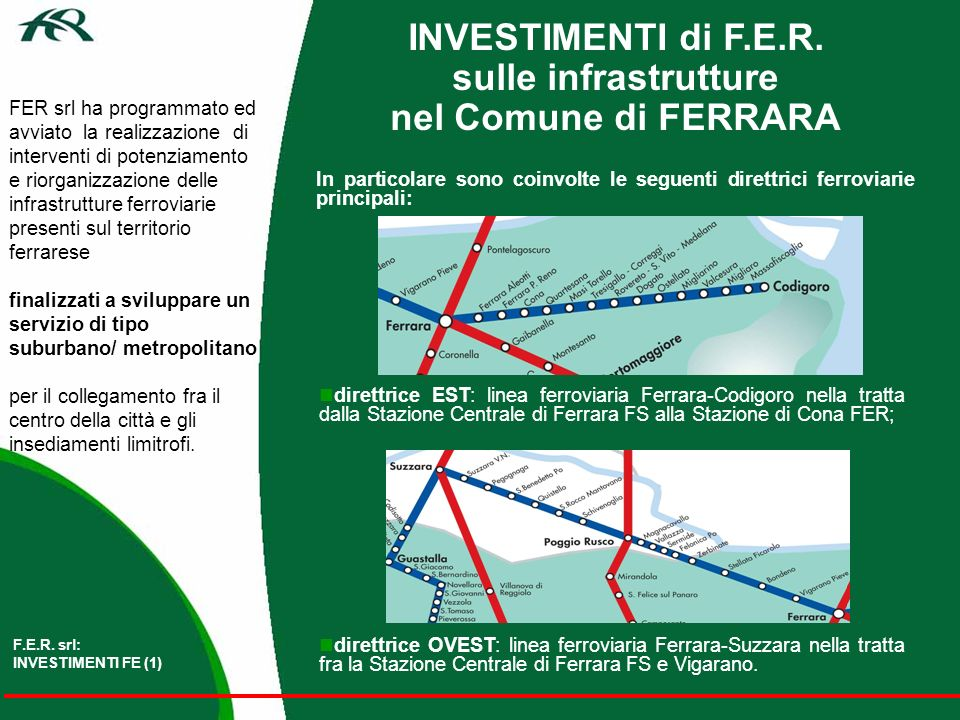 INVESTIMENTI di F.E.R. sulle infrastrutture nel Comune di FERRARA FER srl ha programmato ed avviato la realizzazione di interventi di potenziamento e